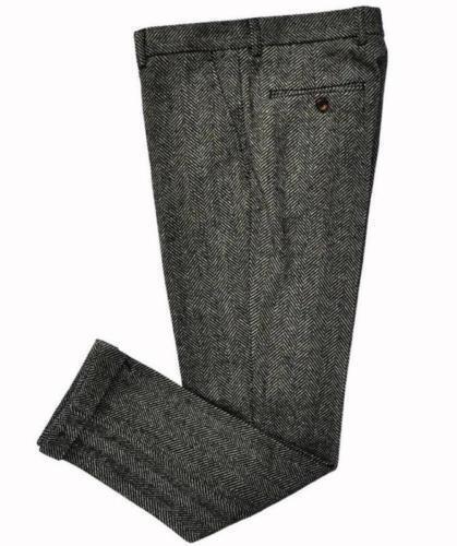 Mens Vintage Casual Tweed Wool Dress Pants Work Wedding Herringbone Trousers New