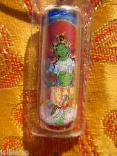 TIBETAN BUDDHIST BELOVED GREEN TARA w/ MANTRAS TUBE PENDANT AMULET BLACK CORD