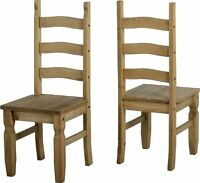 Set Of 2 X Genuine Corona 3 Bar Backrest Distressed Pine Dining Chairs