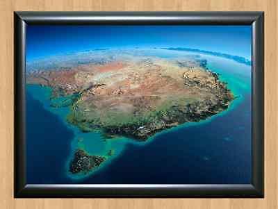 Australia Map Satellite.Australia Map Satellite Plane Art Melbourne Victoria Sydney Nsw A4 Print Photo Ebay