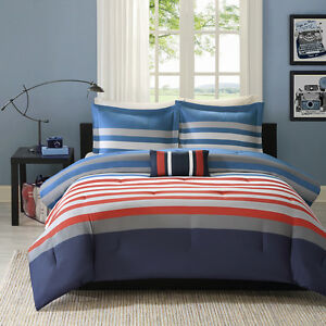 MODERN-RED-GREY-WHITE-BLUE-SPORT-STRIPE-CHEVRON-BOYS-SOFT-COMFORTER-SET-amp-PILLOW