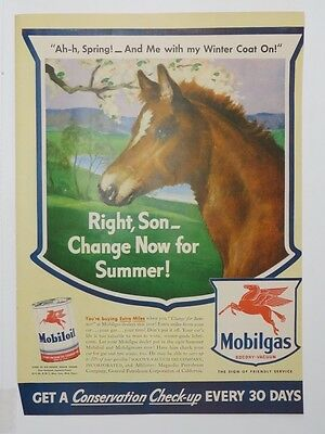 Advertising-print 1940-49 Discreet Original Print Ad 1943 Mobilgas Mobiloil Right Son Change For Summer Horse