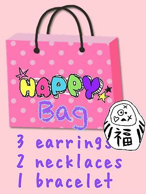Happy Bag Earrings+Necklace+Bracelet Funky Cute Kitsch Emo Quirky Lucky