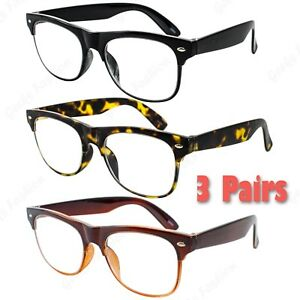 a7bd240a02b3b Details about 3 Pairs Mens Womens Large Lenes Retro Vintage Reader Reading  Glasses 1.0 - 3.5