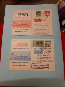 2 CARDS BEA 1ST FLIGHT SUPER ONE ELEVEN BERLIN MUNICH MUNICH LONDON NOV 1968