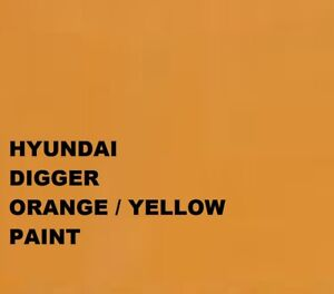 Hyundai Digger Yellow Orange Paint Machinery Enamel 1Lt Paint Brush Spray 1000ml