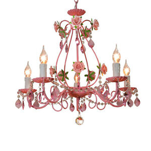 Details about Modern Pink Flowers Crystal Chandeliers Lighting Girl\'s  Bedroom Pendant Lamp 620