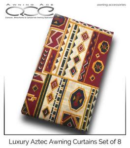 Image Is Loading Caravan Awning Curtains Set Of 8 Aztec Design
