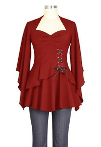 forma dalla gotico dettagliate corsetto a maniche alla lunghe Taglie Plus 28 6 di a Taglie rosso 5znqwSPP