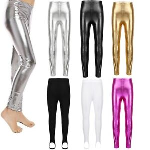 Kids Girls Leggings Metalic Shinny Disco Fashion Dance Leggings Age 7-13 Years