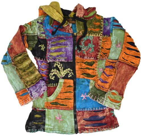 Patchwork Baby Girls Youth Hippie Funky Jacket Hoodie Boho Festival Sweater