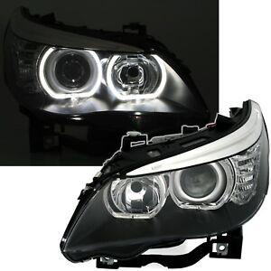 Angel-Eyes-BMW-E60-E61-5er-03-07-Scheinwerfer-LED-Ringe-LWR-Motor-links-rechts