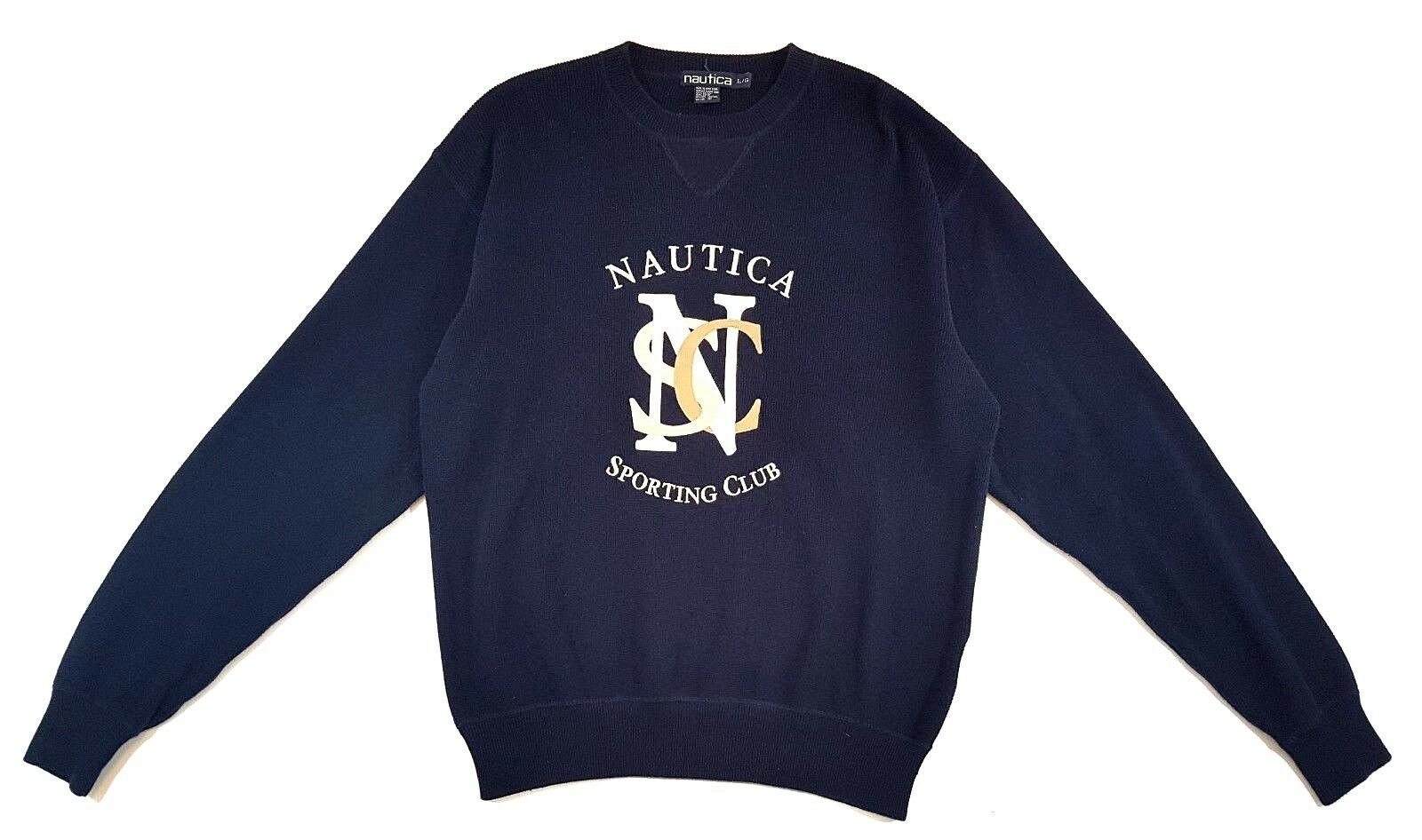 Vintage Nautica Embroidered Navy bluee Sporting Club Sweater Mens Size Large