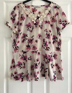 Size-16-George-Crotchet-Collar-Floral-Peplum-Top-Tshirt-Summer-Casual
