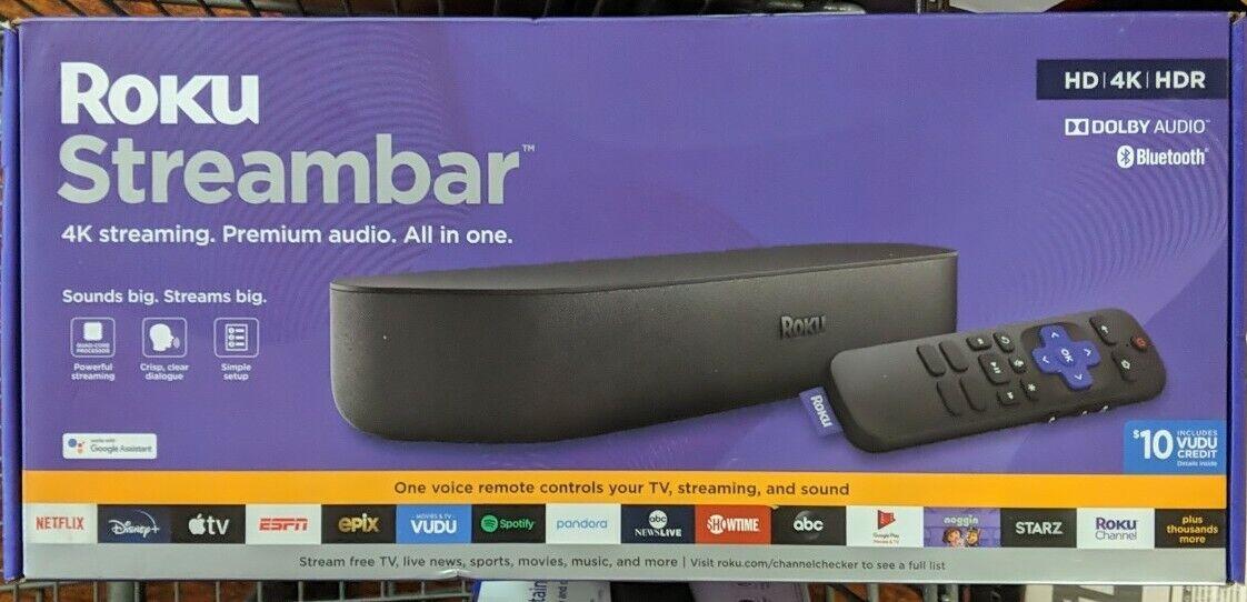 Roku Streambar (9102RW) Powerful 4K Streaming Media Player NEW!!! media player powerful roku streambar streaming