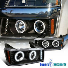 2004-2012 Chevy Colorado Dual Halo LED Projector Headlights Black SpecD Tuning