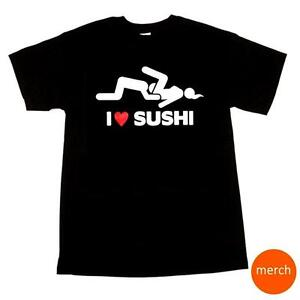 I-Love-Sushi-Adult-Dirty-Funny-Bachelor-Party-Humor-Black-Cotton-T-Shirt-Tee