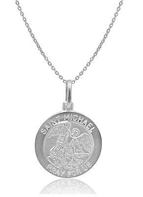 "Sterling Silver Saint St.Michael Medal Charm Pendant 19mm Necklace 18"""