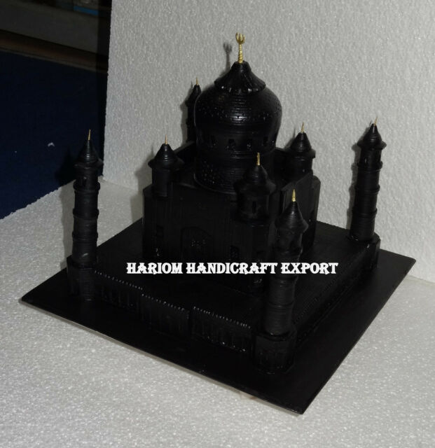 """7"""" Black Marble Taj Mahal Unique Art Collectible Decorative for Lover Xmas Gifts"""