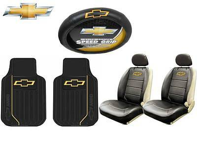 7 Pc Chevrolet Chevy Elite Seat Covers, Steering Wheel & Front Rubber Floor Mats