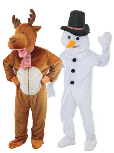 Adult Deluxe Christmas Mascot Big Head Costume Mens Festive Fancy Dress