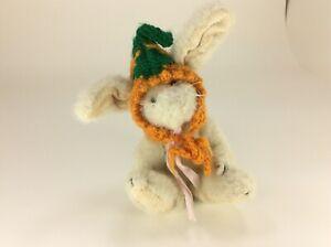 "Bunny Rabbit Genuine Boyds Bear Collection Vintage 7"" Chardonnay Hare Carrot Hat"