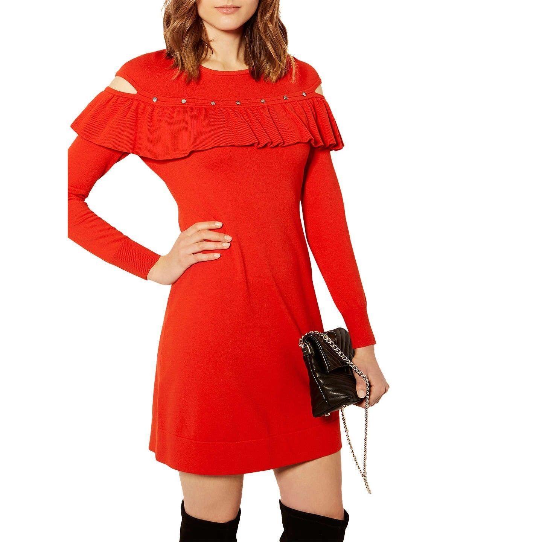 BNWT KAREN MILLEN KNITTED RUFFLED STUDDED RED A LINE DRESS SIZE XS