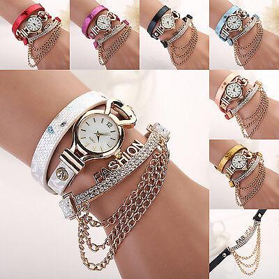 Women Faux Stylish Leather Fashion Chain Wrap Bracelet Quartz Wrist Analog Watch