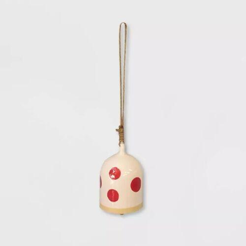 """Chime White 14/"""" Ceramic Red Polka Dot Bell Opalhouse"""