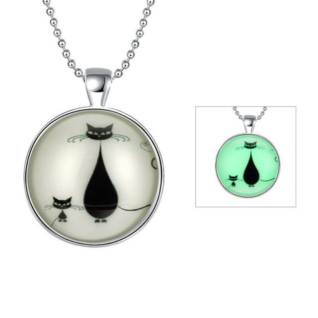 Charming Fluorescence Cat Glass Cabochon Silver Plated Necklace Christmas Gift
