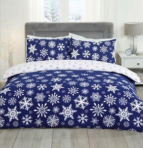 Christmas-Falling-Blue-amp-White-Snowflakes-Duvet-Cover-Pillowcases-Bedding-Set