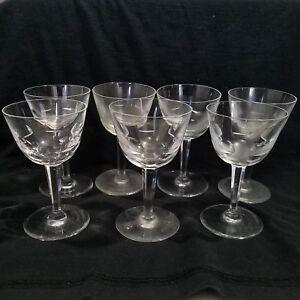 Orrefors Bernadotte Wine Glasses Cut Crystal Sweden Set Of 7 Cordial Sherry Ebay