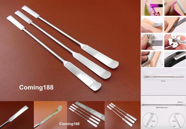 3pcs Leather Craft Stainless Steel 2 Way  Glue Stick Shovel Spoon Push Tool Set