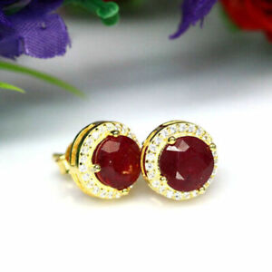 NATURAL RED RUBY & White CZ Stones STERLING 925 SILVER EARRINGS