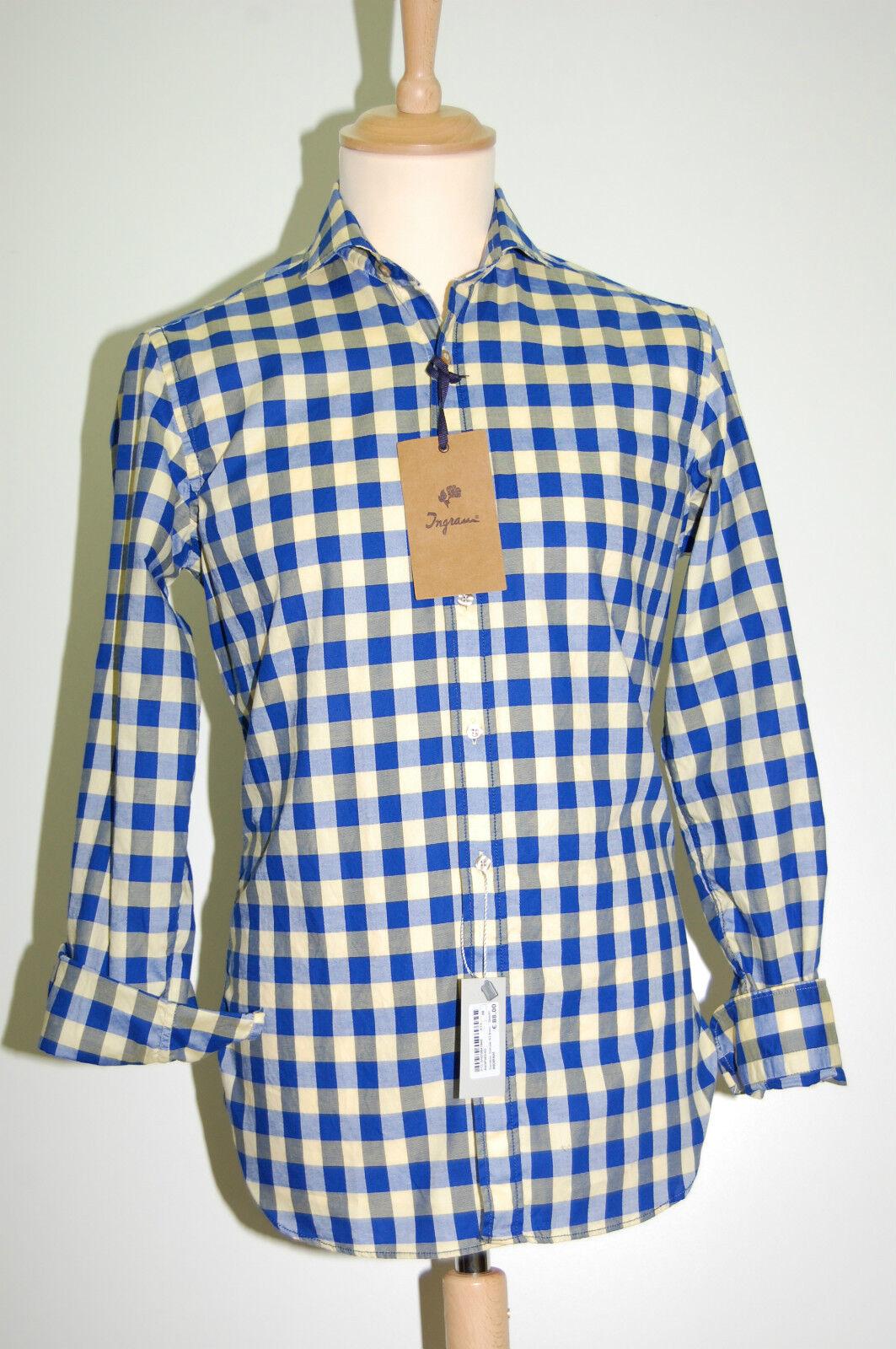 Camicia moda uomo Ingram slim fit a quadri Blu e Giallo puro cotone lavato 40-M