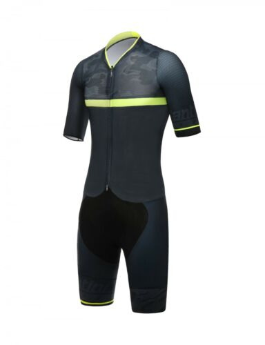 River Road SkinSuit in Black//Yellow Made in Italy by Santini