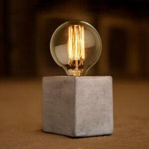 Details Sur Beton Del Cube Lampe Base Pied De Lampe De Table Industrial Light Stand Bureau Chevet Afficher Le Titre D Origine