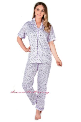Ladies Womens PJ Set 100/% Cotton Woven Winter Warm Printed Pyjama Nightwear 8-16