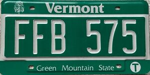 Vermont-Green-Mountain-State-American-License-Licence-USA-Number-Plate-FFB-575