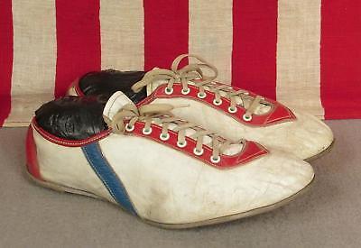 Vintage 1960s Riddell Leder Track Schuhe Spikes Weiß/rot/blau 7.5 Bildschirm Klar Und Unverwechselbar Buttons
