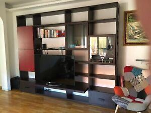 Dettagli su Parete attrezzata wenghe mobile TV soggiorno sala da pranzo  libreria