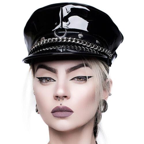 Killstar Gothic Punk Lackleder Schiffermütze Mütze Cap Hut Force Field