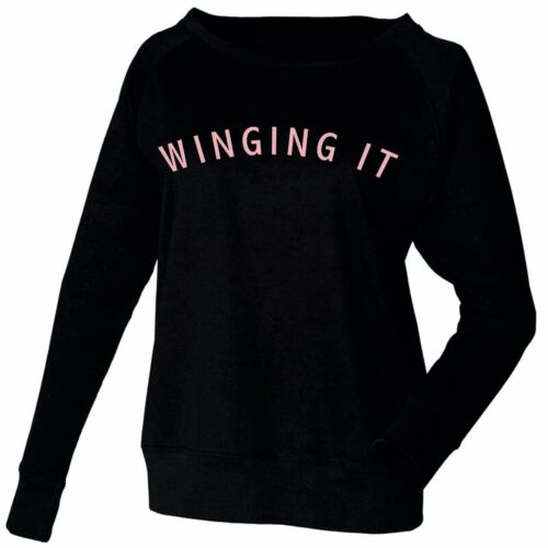 Femmes Femmes Sweat-shirt ailes il Casual Manches Longues Col Large Or Rose