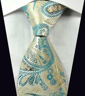 New Classic Paisleys Beige Light Blue JACQUARD WOVEN 100% Silk Men's Tie Necktie