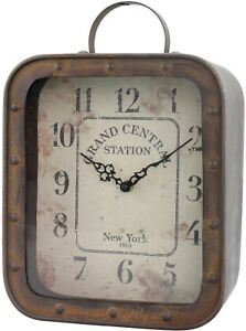 Square Rustic Tabletop Clock Antiqued Rivets Easel Back Bold Big Numbers Home