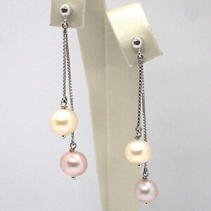 Drop-Earrings-White-Gold-18K-Double-Chain-Venetian-Pearl-White-And-Purple