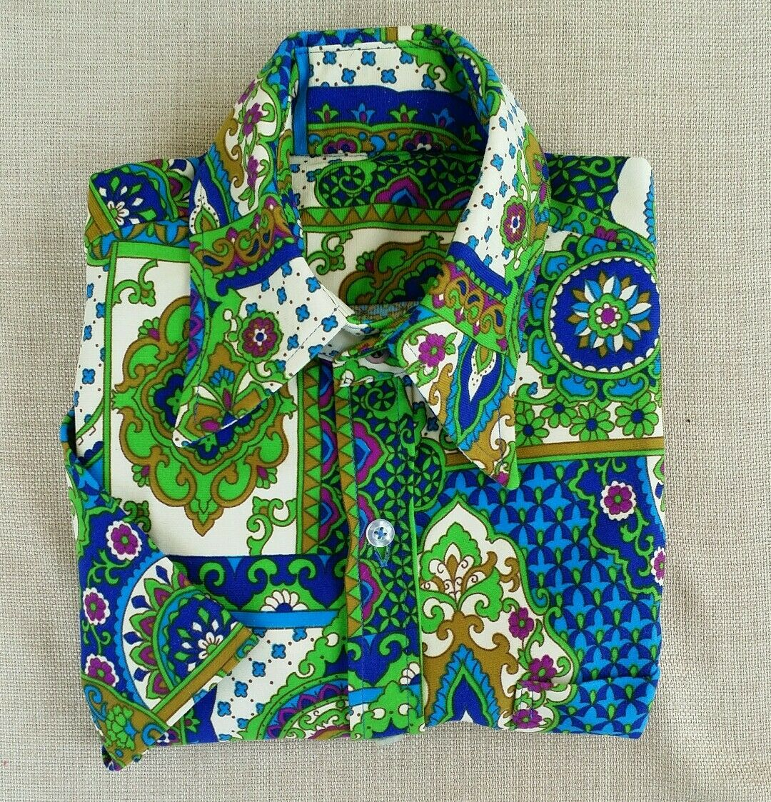 Vtg Retro MoD Psychedelic s s bluee Green Purple Paisley Shirt 15 1 2 S graham