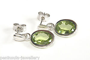 9ct-White-Gold-Peridot-oval-Drop-Earrings-Gift-Boxed-Made-in-UK-Birthday-Gift