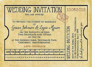 PERSONALISED SHABBY CHIC VINTAGE TICKET WEDDING INVITATIONS PACKS OF 10