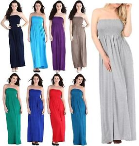 Details about Womens Plus Size Summer Gathered Bandeau Boob Tube Sheering  Beach Maxi Dress